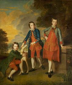 The Children of the 2nd Duke of Newcastle-under-Lyne, Henry (1750–1778), Thomas (1752–1795) and John (1755–1781)  by William Hoare