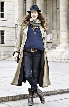 hat, printed scarf, navy sweater, trench coat, big belt buckle, skinny jeans and cowboy boots #style #fashion #western #streetstyle #paris #frenchstyle