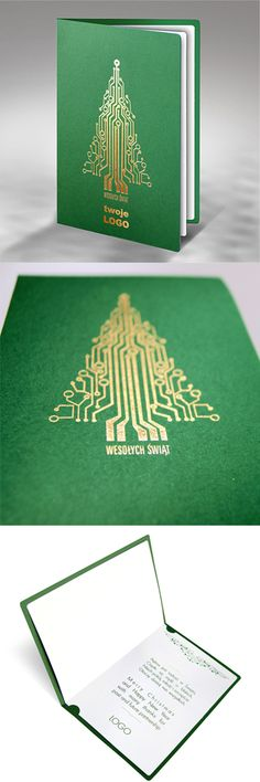 christmas cards, design, green, gold, technology, tree