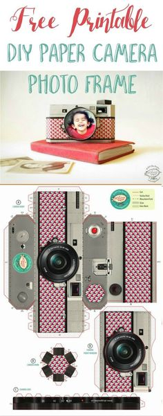 Free Printable DIY Paper Camera Photo Frame - Camera, Acmera accessories, and so on Diy Gifts Paper, Diy Paper, Paper Camera, Camera Crafts, Papier Diy, Diy Tumblr, Paper Frames, Paper Models, Paper Toys