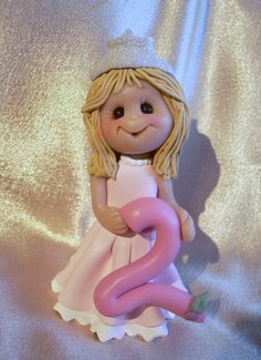 *POLYMER CLAY ~ princess polymer clay toddler 2nd  birthday cake topper decoration Christmas ornament personalized gift.