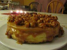 Caramel covered cheesecake with candied nuts on top. #GodIsReal lol