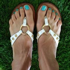 Lilly Pulitzer McKim Sandals White with gold Lilly Pulitzer McKim Sandals sz 6.5 m --- Very Good Condition w/very little wear on the soles!! Lots of wear left in them! No trades!!! Make a REASONABLE offer!!! Lilly Pulitzer Shoes Sandals