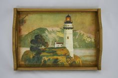 $16,Wooden decoupaged serving tray, sea and a lighthouse