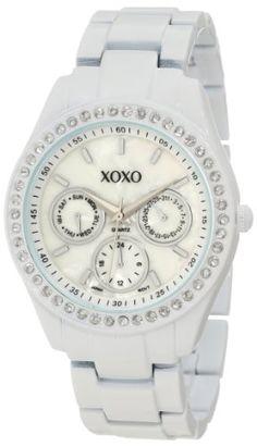 XOXO Women's XO114 Rhinestone Accent White Enamel Bracelet Watch - Find Me The Cheapest Price: $19.99