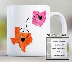 Sisters State Mug Long Distance Mug Gift for Sister by Cupology