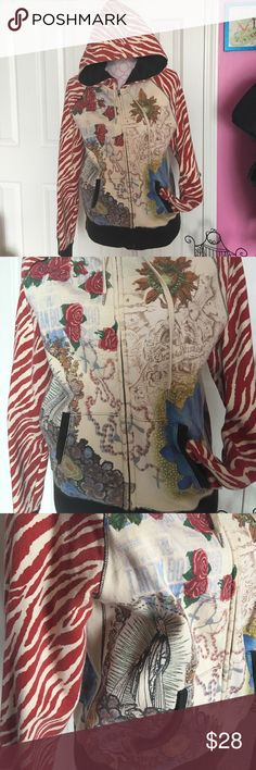 Hoodie sweatshirt with tattoo inspired design This sweatshirt has so many amazing details the red zebra print arms/hood, black lining of sleeves and inside of hood, not to mention the tattoo art Lucky Brand Tops Sweatshirts & Hoodies