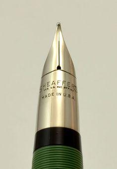 Sheaffer Statesman Snorkel Set 1950s - Moss Green, Medium (Excellent, Restored) - 1950s Sheaffers - Sheaffer | Vintage Fountain Pens - Parke...