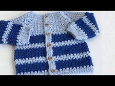 Crochet Double, Crochet Bebe, Crochet For Boys, Free Crochet, Crochet Top, Knit Cardigan Pattern, Crochet Jacket, Crochet Cardigan, Pull Bebe