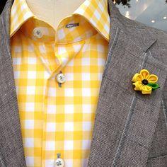 Mens Lapel Flower in Yellow