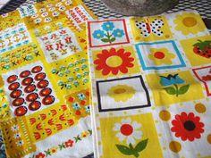 Midcentury Linen Tea Towels. (vintage Danish Kitchen)