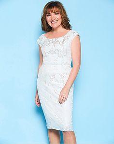 Lorraine Kelly Bonded Lace Bardot Dress | Fifty Plus