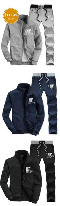 Plus fall/winter fleece thicken men's sportswear to thicken sportswear Korean slim casual Hoodie two-piece explosion