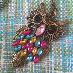 NWT OWL JEWELED NECKLACE!   NWT OWN JEWELED NECKLACE! BEAUTIFUL STATEMENT PIECE!  Jewelry Necklaces