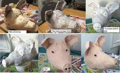 Paper mache Pig head... Only gory and bloody