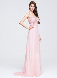 A-Line/Princess V-neck Sweep Train Chiffon Prom Dress With Appliques Lace (018076514)