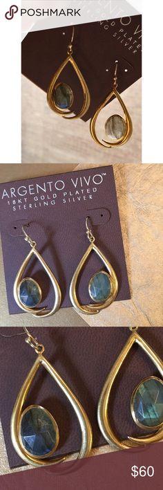 Antonio Vivo earrings 18k plated Labrodorite Stone Antonio Vivo earrings 18k plated Labrodorite Stone. Absolutely beautiful. Never worn. NWOT. Argento Vivo Jewelry Earrings