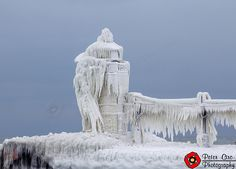 St. Joseph Michigan Lighthouse - Ice Covered