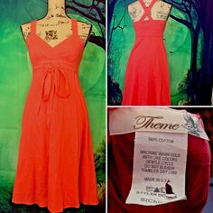Theme Womens Coral Criss Cross Back Tie Front Empire Waist Dress Boho Cotton  | eBay