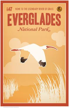 """Everglades National Park was established in home to the legendary """"River of Grass"""". Some 75 years ago, the U. government commissioned a series of posters to promote its national park system wh National Park Posters, National Parks Usa, Everglades National Park, Florida Everglades, Everglades City, Florida Beaches, Voyage Usa, Postcard Art, Vintage Travel Posters"""