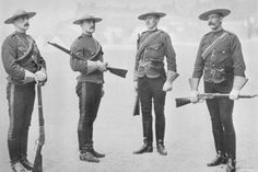 Photo of the uniforms of the North-West Mounted Police - Canada's famous ''mounties'' - from the late Victorian period (circa 1890s).