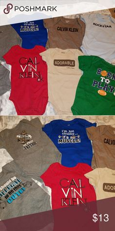 Bundle of baby boy onsies This is for 8 baby boy onsies...various brands..excellent condition basically brand new condition some never worn only washed in Dreft baby soap...bundle to save Calvin Klein One Pieces Bodysuits