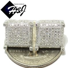 Awesome Great MEN 925 STERLING SILVER SQUARE 11MM LAB DIAMOND ICED OUT BLING 3D STUD EARRING  Cool Check more at 24shopping.tk/...