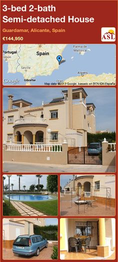 3-bed 2-bath Semi-detached House in Guardamar, Alicante, Spain ►€144,950 #PropertyForSaleInSpain