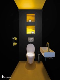 Black toilet a decorative color for the toilet - Black & Yellow. Yellow to wake black toilet too dark - Modern Minimalist Bedroom, Minimalist Interior, Minimalist Home, Minimalist Bathroom, Minimalist Jewelry, Guest Toilet, Downstairs Toilet, Beautiful Small Bathrooms, Amazing Bathrooms