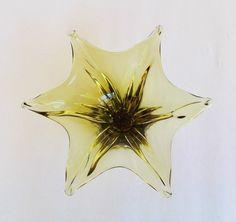 Starfish Chalet Glass Bowl, Mid Century Modern Green Art Glass Sculpture, Hollywood Regency Chalet Art Glass Cigar Ashtray, Chalet Bowl