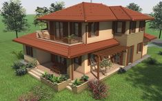 Emeletes családi ház 201 m2 Beautiful House Images, Beautiful Homes, New Model House, Compound House, House Fence Design, Asian House, House Design Pictures, Mexico House, Kerala House Design