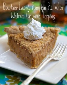 bourbon-laced pumpkin pie with walnut crumble topping #vegan