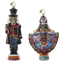Christopher Radko Day Of The Dead Halloween Sugar Skull Themed Figurine Glass Christmas Ornaments - Bundle Includes One La Novia Muerta & One Dia De Los Cracker Ornaments Halloween Ornaments, Glass Christmas Ornaments, Hanging Ornaments, Halloween Decorations, Sugar Skull Makeup, Sugar Skull Art, Sugar Skulls, Vintage Halloween, Vintage Witch