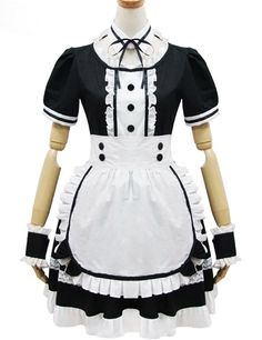 Black And White Short Sleeves Front Botton Maid Costume