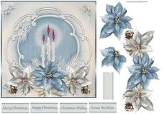 Christmas candles and poinsettias 7x7 card on Craftsuprint designed by Angela Wake - Christmas candles and poinsettias 7x7 card with decoupage and sentiment tags - Now available for download!