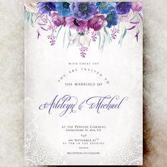 Purple violet Wedding Invitation printable by DivineGiveDigital