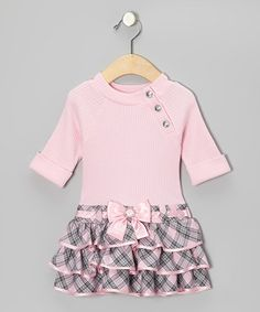 Take a look at this Pink & Gray Plaid Dress - Infant by Youngland on #zulily today!