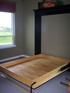 DIY Murphy Bed - Open - creativedecorbybrooke.blogspot.com