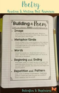Building a Poem Writing Notebook Anchor Chart, Reading and Writing the Language of Poetry Unit Resources, Notebook Charts, Large Anchor Charts/Slides for Teaching, Revision Checklists, Rubric by lucia