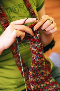 """whimsyknit: """" for those looking for the pattern PATTERN: Multiples of 3 Row1: purl Row2: (right side) K2, *YO, K3, pass 3rd st on righthand needle over first two 2 sts; rep from * to last st, K1 Row3:..."""