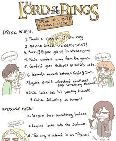 This is so happening.  Lord of the Rings drinking game.