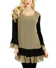 This Lily Black & Mocha Tier Bell-Sleeve Tunic by Lily is perfect! #zulilyfinds