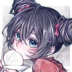 Kyouka with space buns is the cutest Anime Girl Cute, Beautiful Anime Girl, Anime Art Girl, Manga Girl, Anime Girls, Beautiful Eyes, Kawaii Anime, Kawaii Girl, Kawaii Drawings