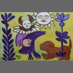 Angel with Purple Friend - Mirka Mora Contemporary Decorative Art, Purple Bird, Australian Art, Naive Art, Artsy Fartsy, Art Lessons, Flower Art, Folk Art, Art Projects