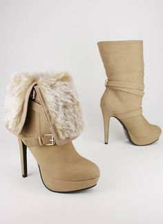 Sexy Boot~ Fur cuff leatherette boot
