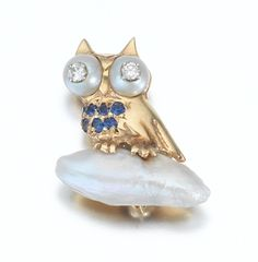 Pearl and Diamond Owl Pin