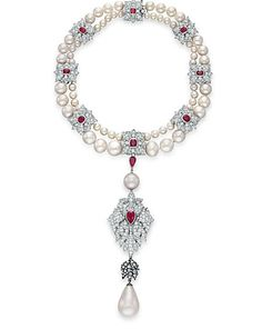 The La Peregrina - A natural pearl, diamond, ruby and cultured pearl necklace from Christie's auction catalogue