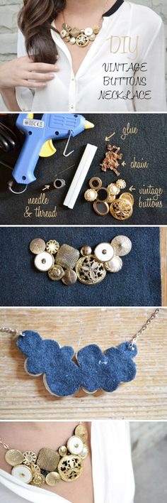 DIY Vintage Button Necklace...
