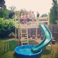 Summer days like these seem so far away! Today on the blog: FINALLY how we built our #kidsoutdoorplayhouse #playhouseideas #backyardplayhouse