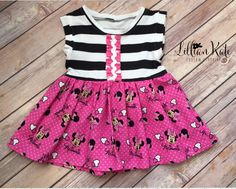 Minnie Mouse Pink and Black Tunic Polka Dots birthday outifit